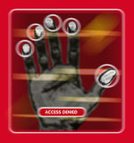 Access granted or denied. An image of a hand scan to see if access is granted or denied to a restricted area stock illustration