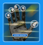 Access granted. An image of a hand scan to see if access is granted to a restricted area vector illustration
