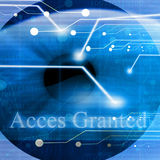 Access granted after eye scan Stock Photo