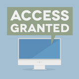 Access granted. Minimalistic illustration of a monitor with an access granted speech bubble Stock Images