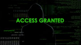 Access granted, successful hacking, cyber attack on personal data or account stock video footage