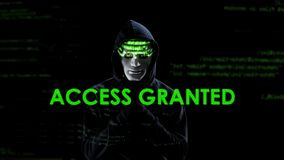Access granted text on screen, hacker loading virus, copying secret information. Stock photo royalty free stock photos