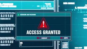 28 Access ha assegnato la notifica d'avvertimento sull'allarme di sicurezza di Digital sullo schermo illustrazione di stock