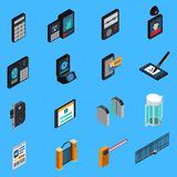 Access Identification Isometric Icons. Id card, biometric authentication, electronic signature, combination lock, blue background isolated vector illustration Stock Photography