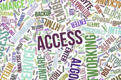 Access, conceptual word cloud for business, information technology or IT. Access, IT, information technology conceptual word cloud for for design wallpaper Royalty Free Stock Photos