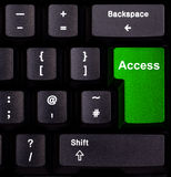 Access on keyboard. Keyboard with green button, spelling access Royalty Free Stock Photos