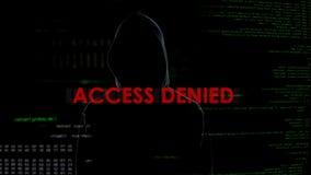 Access a nié, tentative entaillante infructueuse sur le serveur, pirate informatique sur le fond photographie stock libre de droits