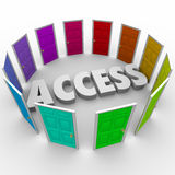 Access Open Doors Admission Exclusive Available Entry. Access open doors for admission or entry to exclusive areas or events you want to attend or enter stock illustration