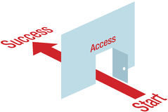 Access path arrow through door way to Success Royalty Free Stock Photography