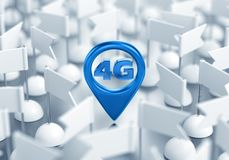 Access Point Location Of 4G Wireless Network. 3D rendering graphic composition on the subject of `Wireless Technologies royalty free illustration