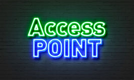 Access point neon sign on brick wall background. Access point neon sign on brick wall background Royalty Free Stock Photo