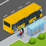 Access ramp for disabled persons and babies in a bus. Royalty Free Stock Photo