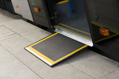 Access ramp for disabled persons and babies in a bus Royalty Free Stock Images