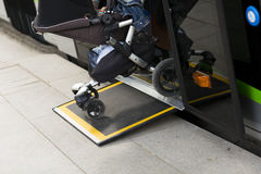 Access ramp for disabled persons and babies in a bus Stock Photos