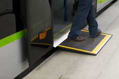 Access ramp for disabled persons and babies in a bus Stock Photography