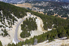 Access road to the summit of Mount Ventoux Stock Photo
