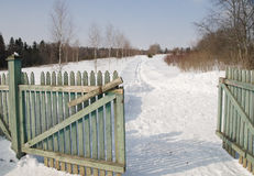 Access road. winter Royalty Free Stock Images
