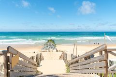 Lacanau, Atlantic Ocean, France. Access to central beach of Lacanau, a French resort well known by surfers on the Atlantic Coast, between Bordeaux and the Royalty Free Stock Photography