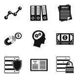 Access to data icons set, simple style. Access to data icons set. Simple set of 9 access to data vector icons for web isolated on white background Stock Photo
