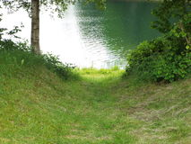 Access to the lake. Sunken road to the lake shore between a tree and a bush Royalty Free Stock Photography
