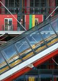 Access to Pompidou Center. Detail of the exterior escalator of the Pomidou Centre Paris France Royalty Free Stock Photo