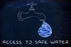 Access to safe water: the world in a droplet from the tap (with. Planet earth in a droplet from the tap (with ocean fill), illustration about giving access to Stock Photos