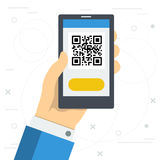 Access to web site by qr code Stock Photography