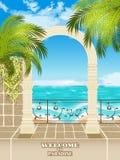 Access vers la mer par l'arcade Images libres de droits