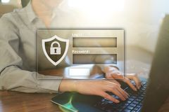 Access windows with login and password. Cybersecurity and data protection concept on virtual screen. Access windows with login and password. Cybersecurity and stock images