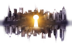 Accessibility concept. Abstract reflected city with shiny keyhole on light background. Accessibility concept Royalty Free Stock Image