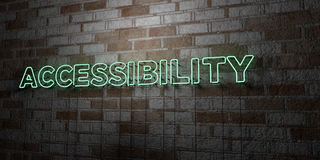 ACCESSIBILITY - Glowing Neon Sign on stonework wall - 3D rendered royalty free stock illustration. Can be used for online banner ads and direct mailers Stock Images