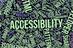 Accessibility, conceptual word cloud for business, information technology or IT. Accessibility, IT, information technology conceptual word cloud for for design Royalty Free Stock Photo