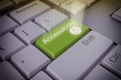Accessibility  key. Computer keyboard with an accessibility green key Stock Photos