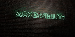 ACCESSIBILITY -Realistic Neon Sign on Brick Wall background - 3D rendered royalty free stock image. Can be used for online banner ads and direct mailers Stock Photo