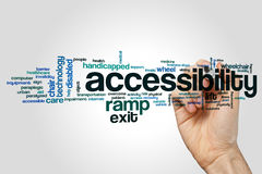 Accessibility word cloud concept on grey background.  Royalty Free Stock Photo
