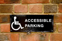 Accessible parking sign Royalty Free Stock Photos