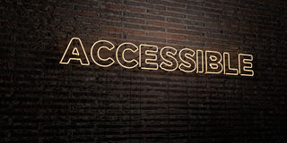 ACCESSIBLE -Realistic Neon Sign on Brick Wall background - 3D rendered royalty free stock image Royalty Free Stock Image
