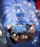 Accessing business network with smartphone. Keep in touch through technology royalty free illustration
