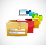 Accessing private computer files. illustration Royalty Free Stock Images