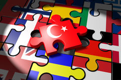 Accession negotiations between the EU and Turkey symbolized as a Stock Photo