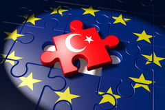 Accession negotiations between the EU and Turkey symbolized as a Royalty Free Stock Photography