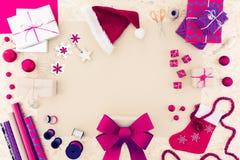 Accessiories rosados de la Navidad Foto de archivo libre de regalías