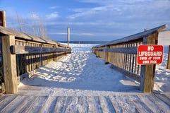 Accesso di legno della spiaggia Fotografia Stock Libera da Diritti