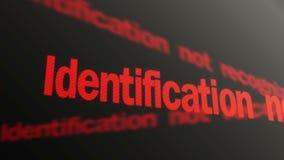 Accesso negato Identificazione non riconosciuta Funzionamento rosso del testo sull'esposizione del pc illustrazione vettoriale