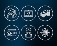Accessoire de achat, épargne et femmes recrutant des cadres des icônes L'amour de Web, le réseau de femme et de logistique signe Images libres de droits