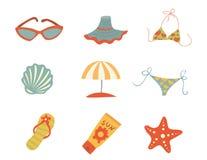 Accessoires d'été. Icônes de vecteur Image libre de droits