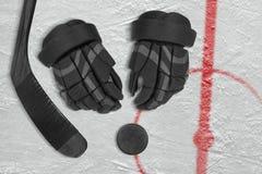 Accessoires d'hockey sur la glace Photos libres de droits