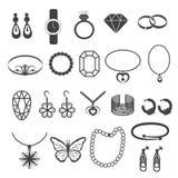 Accessoires de bijoux et icônes de pierre gemme réglées Images stock