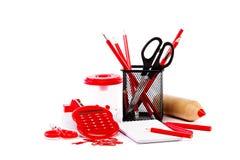 Accessoires de bureau et d'école De nouveau à l'école Images stock