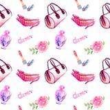 Accessoires de charme, type rose sac, rouge à lèvres, parfum, chaussures en cuir de talon de chaton, rose de baril de rose sur le illustration libre de droits